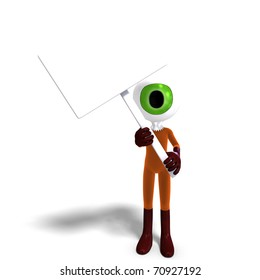 funny and cute cartoon guy with a great eye. 3D rendering with clipping path and shadow over white
