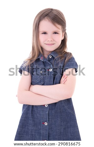 24e8b46cccc funny cute little girl in denim dress with crossed hands isolated on white  background