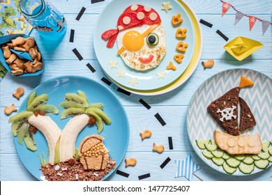 Funny cute pirate breakfast for the children boys