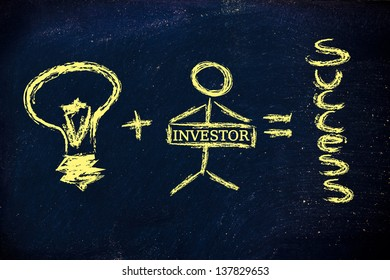 funny design representing how a good idea and a determined individual create success
