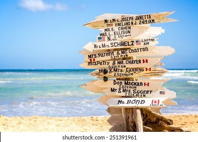 Funny direction signpost with names of newlyweds