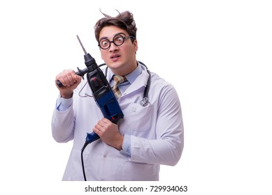 Funny doctor with drill isolated on white