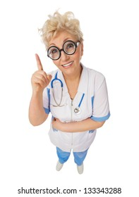 Funny doctor with nerd glasses isolated