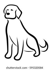 Funny dog black outline isolated on the white background, stylized cartoon illustration