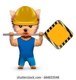 Funny dog in hard hat with road sing isolated on white. Constructor and handyman concept. 3D illustration