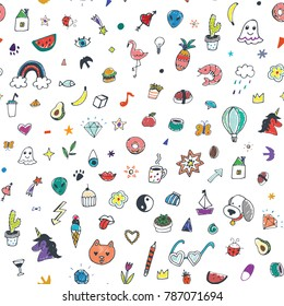 funny doodle objects illustrations seamless pattern