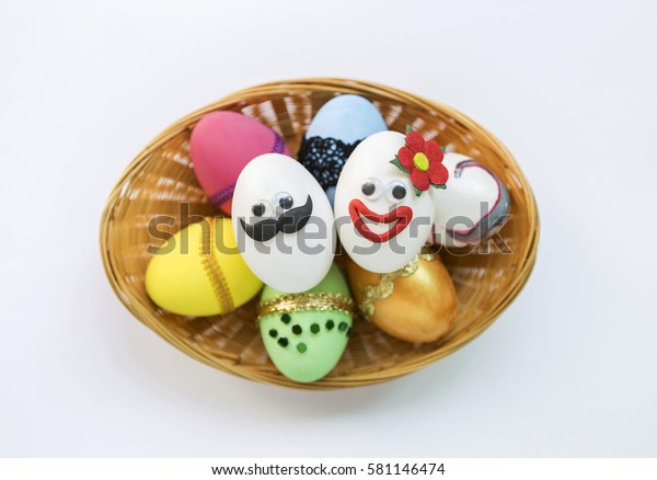 Funny Easter Egg Design His Her Stock Photo Edit Now 581146474
