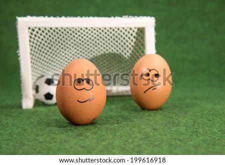3c0f7a307e774 Funny Eggs Football Goal Envy Egg Stock Photo (Edit Now) 199616918 ...
