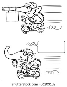 Funny Elephant on Scooter. Outline drawing.