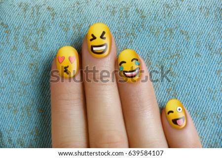 Funny Emoji Nail Art Stock Photo Edit Now 639584107 Shutterstock