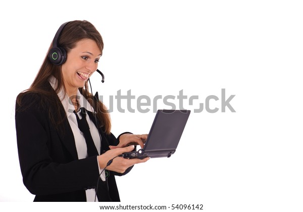 funny emotion of woman with headphone isolated on white
