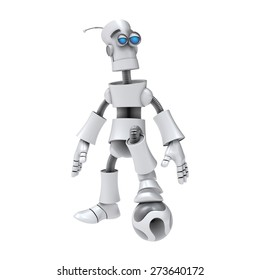 FUNNY EMOTIONAL ROBOT. Cyborg. Android. Isolated character. 3d render. Football. Soccer. Sport.