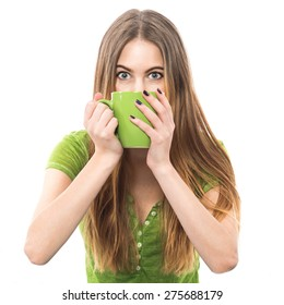Funny excited woman drinking coffee and trying to cheer up