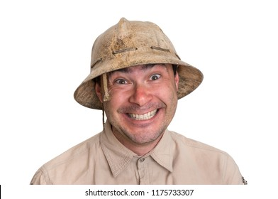 Funny explorer man with helmet isolated on white background