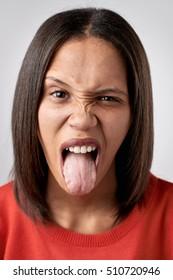 Funny face woman portrait