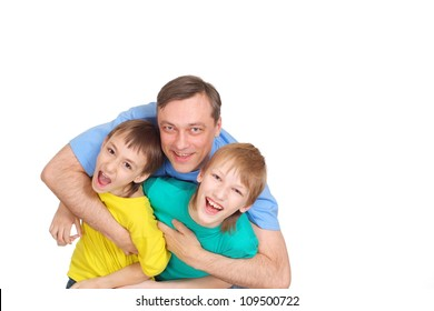 Funny family in bright T-shirts  on a white background