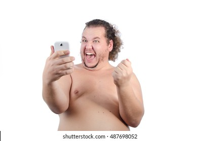 Funny fat guy and phone.
