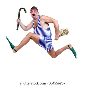 Funny fat man in a retro swimsuit running isolated on white background. Tourist in vintage style swimwear runs with snorkel and a shell in his hand. Last moment for holiday.