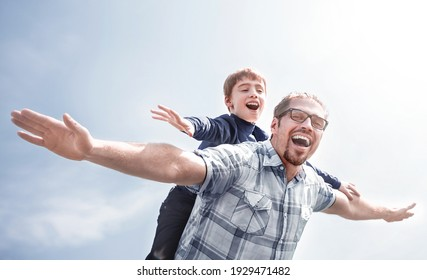 funny father and son spend time together