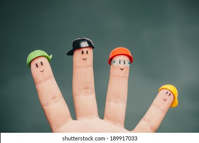 Funny fingers with smiley faces