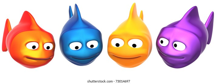 funny fishes looking to your object, 3d render isolated on white