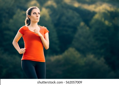 Funny Fit Sportive Woman Running Outside - Fitness surprised girl jogging in nature in a sunny day