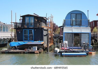 funny floating houses in sausalito, california