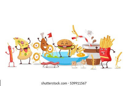 Funny food story conceptual banner. Sausage pizza donut bacon chicken hamburger fries sugar soda potatoes eggs. Happy meal for children. For childish menu poster.  design illustration