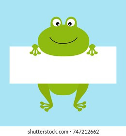 Funny frog hanging on paper board template. Big eyes. Kawaii animal body. Cute cartoon character. Baby card. Flat design style. Blue background Isolated.