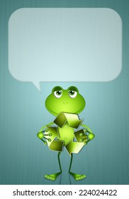 Funny frog with recycle symbol for ecology