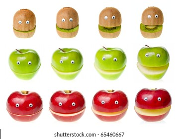 Funny fruit  characters kiwi and apple on white background