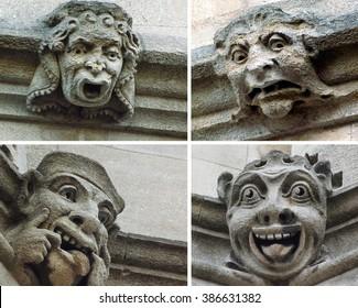 Funny gargoyle faces in Oxford, United Kingdom