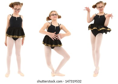 Funny geeky ballerina in three poses. Clipping path over white.