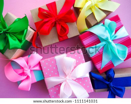 funny gift boxes on pink background the concept of gift for the holiday. & Funny Gift Boxes On Pink Background Stock Photo (Edit Now ...