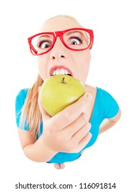 Funny girl biting an apple isolated on white, taken by fish eye lens