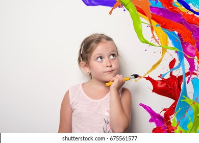 funny girl with brush