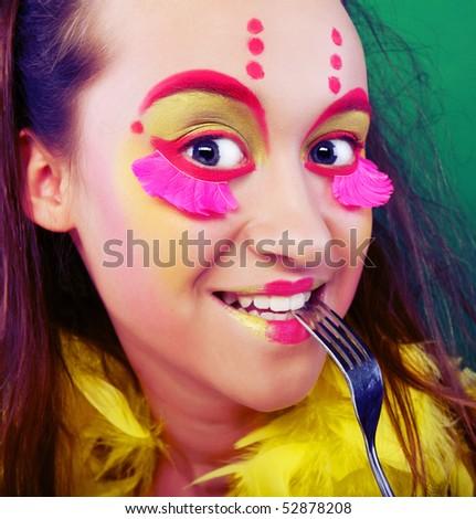 funny girl crazy makeup stock photo edit now 52878208 shutterstock