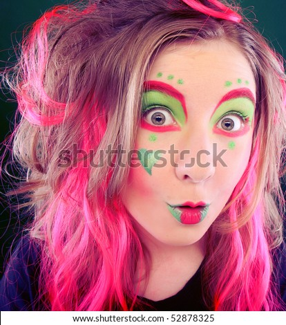 funny girl crazy makeup stock photo edit now 52878325 shutterstock