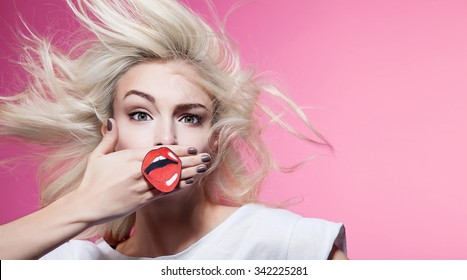 Funny girl  with lips paper