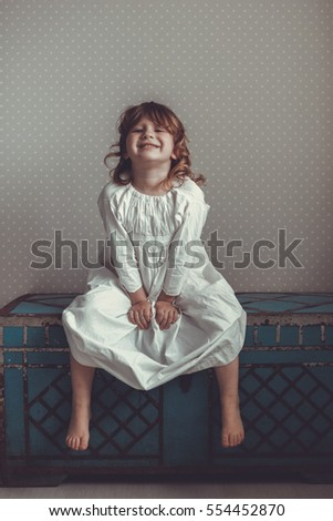 Funny Girl Nightgown Retro On Old Stock Photo (Edit Now) 554452870 ... 7457931de