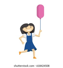 Funny girl playing on the playground with balloon. Cartoon characters on white background.