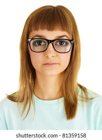 Funny girl in very strong glasses