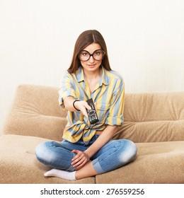 Funny girl watching TV