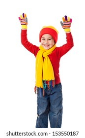 Funny girl in winter clothes with raised hands, isolated on white