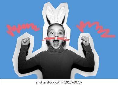 Funny girl.Crazy emotions. Collage in magazine style . Fashion short. Joyful emotions. Like a rabbit. Something new.