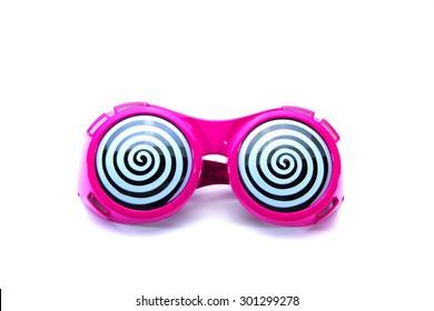 Funny glasses on white background