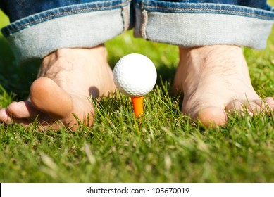 funny golf game with barefoot man