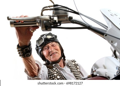 Funny granny ridding a bike - Chopper motorcycle old rider crazy face keep calm and carry on - easy living gangster style - old lady with a Cuban cigar - street motorbike gang