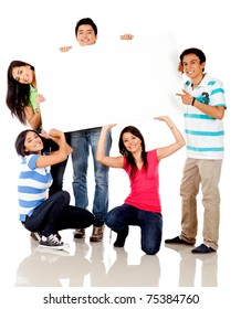 Funny group carrying a banner - isolated over a white background