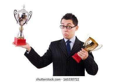 Funny guy receiving award on white